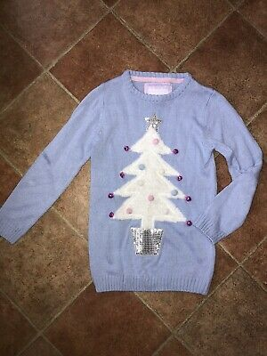 Girls Blue Christmas Tree With Bells Knitted Jumper Top 8-9 Years
