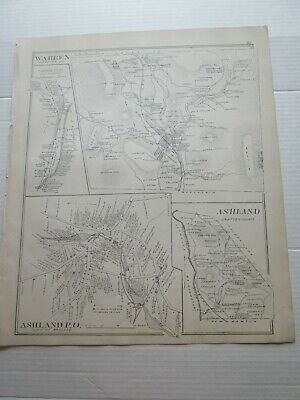 1892 New Hampshire Antique Map, Warren, Ashland, Wentworth, Wentworth P.o.