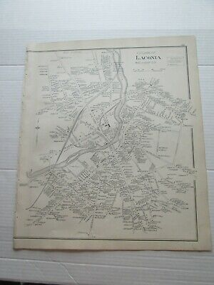 1892 New Hampshire Antique Map, Village Of Laconia, Laconia, The Weirs
