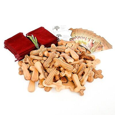 50 Olive Wood Holding Crosses comes with Velvet Bag & Certificate