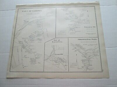 1892 NEW HAMPSHIRE ANTIQUE MAP, PART of LACONIA,GILMANTON IRON WORKS, GILMANTON