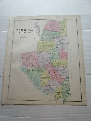1892 New Hampshire Antique Map, Carroll County, Ossipee, Centerville, Moultonvil