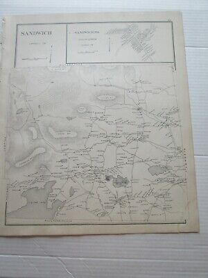 1892 New Hampshire Antique Map, Sandwich, Freedom, Tuftonborough, Melvin Village