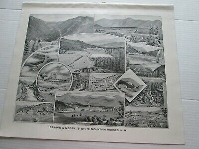 1892 New Hampshire Antique Map, Barron & Merrill's White Mountain Houses, N.h.