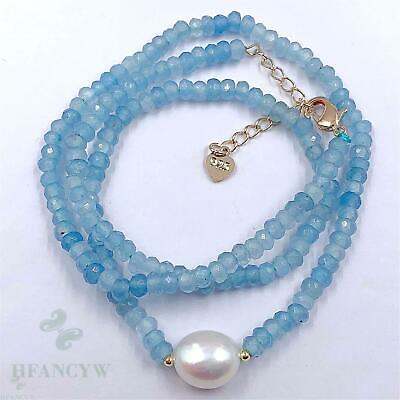 2x4mm Blue Chalcedony White Baroque Pearl Necklace 18 inches Flawless Chain Hang