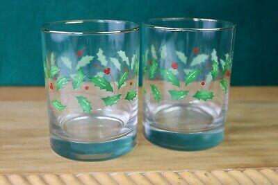 Lenox Crystal holiday Holly & Berry Double Old Fashioned Glass Tumblers