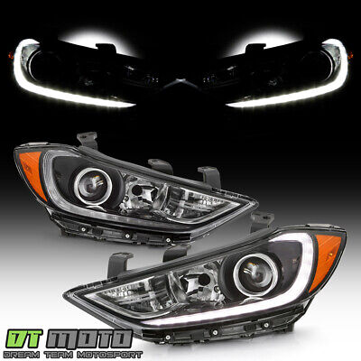 For 2017-2018 Elantra Halogen w/LED DRL Strip Projector Headlights Headlamps Set