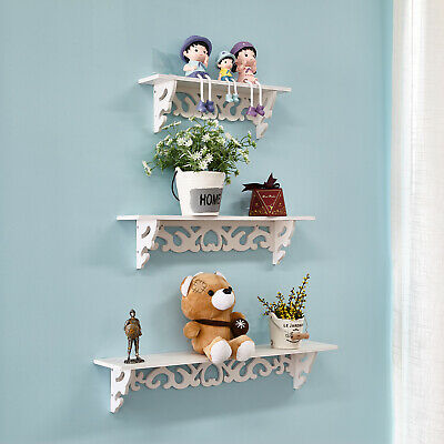 3Pcs Wooden Floating Wall Mounted Shelf Display Filigree Storage Unit Home Décor