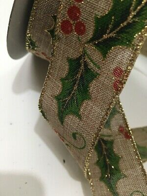 2m Holly Berry Christmas Ribbon 38mm Wide Decorations Tree Wrapping Wreath Bows