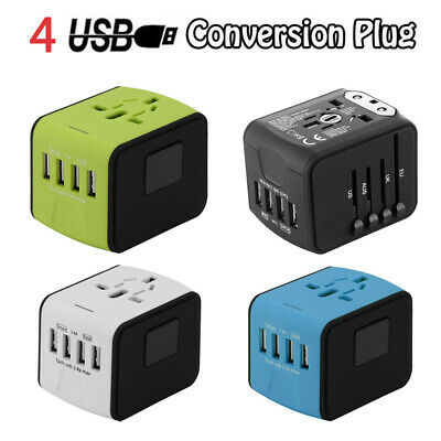 Europe(EU), Australia(AU),United States(US), UK power plug travel adapter w/4USB