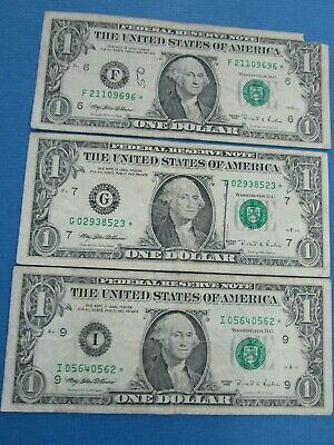 3 USA x One Dollar STAR 1995  Circulated Notes