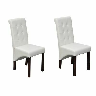 vidaXL 2x Dining Chair PU Artificial Leather White High Back Kitchen Stool