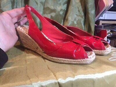 Marks & Spencer red patent peep-toe wedge shoes UK 5