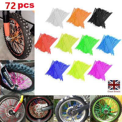 72x Universal Dirt Bike Wheel Rim Spoke Wrap Skin Cover Motocross Accessorie UK