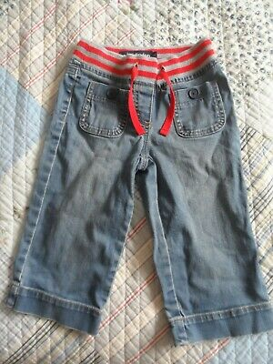 Mini Boden girls cropped jeans with red stripe drawstring waist age 6