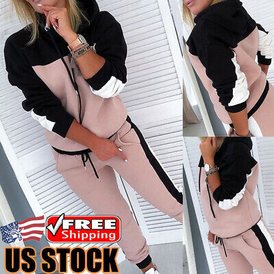 2pcs Women's Stripe Tracksuit Jogging Gym Sport Hoodies Sweatshirt Pants Suit US