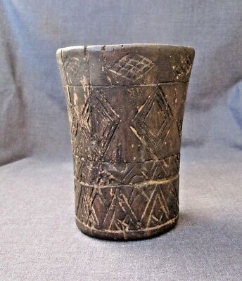 Inca Wooden Incised Geometric Pattern Kero Ritual Drinking Vessel  C.1400-1500