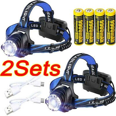 350000Lumen Zoomable T6 LED Headlight USB Rechargeable 18650 Headlamp Head Light