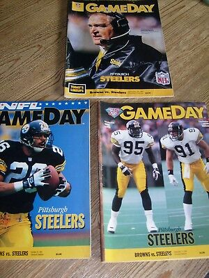 Lot of 3 Cleveland Browns vs.Steelers Game Day Program Magazines 1987 1993 1994
