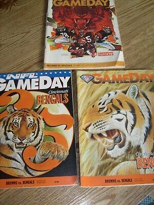 Lot of 3 Cleveland Browns vs.Bengals Game Day Program Magazines 1983 1992 1994