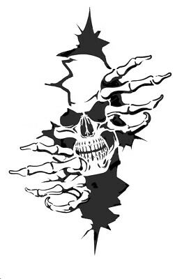 high detail airbrush stencil  skull in wall FREE UK  POSTAGE