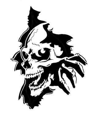 high detail airbrush stencil  skull in wall 3 FREE UK  POSTAGE