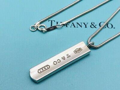 "Authentic Tiffany & Co. Necklace Pendant Bar 1837 Sterling Silver 18"" N16"