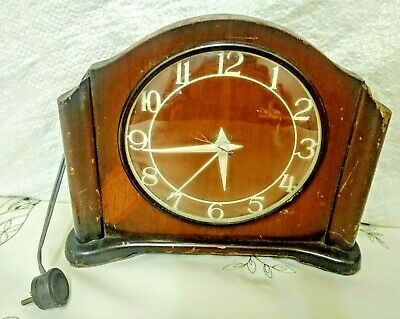 Art Deco  Smith's Electric  Wooden Mantle  Clock A/F
