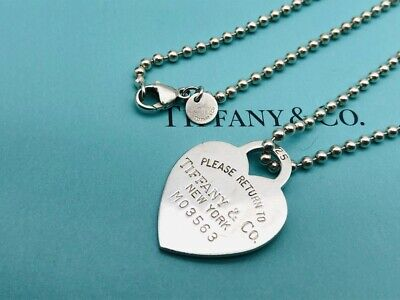 """Auth Tiffany & Co. Necklace Return To Heart Ball Chain Sterling Silver 34"""" N02"""