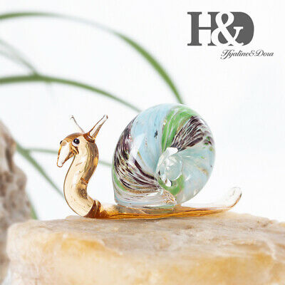 Hand Blown Miniature Glass Snail Art Design Animal Figurines Office Table Gifts