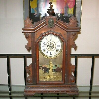 Antique Ingraham LIBERTY 8 Day Mantle Clock w/ Alarm Works Fine Pat. 1878 1879