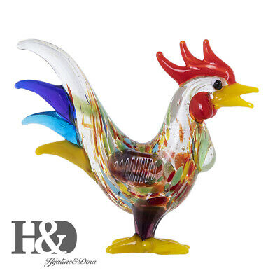 Blown Glass Hand Print Cock Miniature Collectible for Home Table Animal Figurine