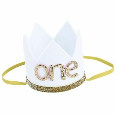 Baby Boy Girl First Birthday Hat Crown Numbers Headband Tiara Party Photo Pr Q1W