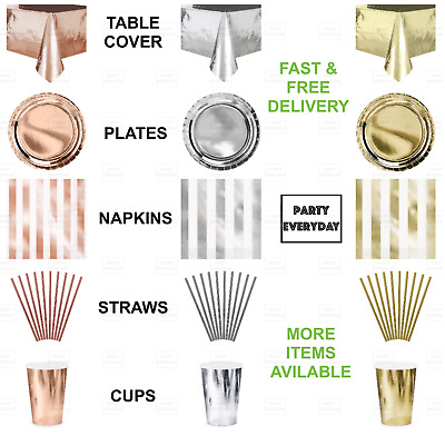 ROSE GOLD SILVER Plates Cups Metallic Shiny Foil Table Cloth Decorations Party