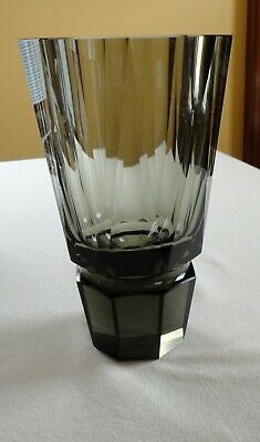Vtg Faceted Art Deco Octagon Geometric Cut Smoke Crystal Vase Czech Moser (?)
