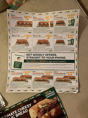 SUBWAY - 50 Coupons! (2 sheets Set - both sides) Exp. 12/29/2019