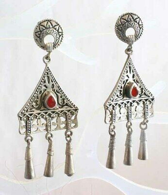 """Elegant Ancient Style Red Stone Silver-tone Pierced Earrings 1970s vint. 2 5/8"""""""