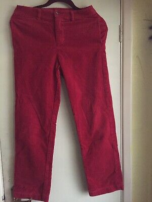 Ralph Lauren Girls Slim Fit Red Cord Trousers Size 14 Age 14-15 Years vgc