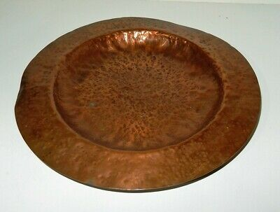 "Antique Arts & Crafts Hand Hammered / Peened 10"" Copper Bowl"