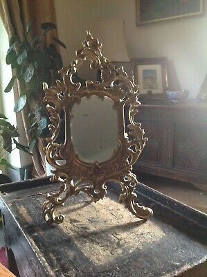 Edwardian Mirror, Gilded Metal Frame, Asymmetrical, Original Mirror Plate.