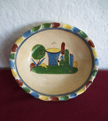 """Vintage Mexican Hand Painted Red Clay Bowl Fluted Edge 6.2"""" x 7.25"""" x 2"""""""