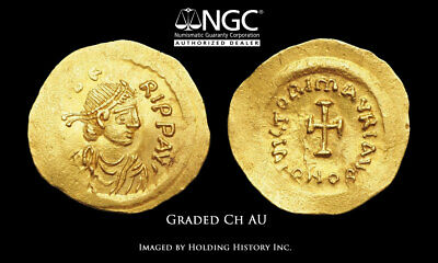 BYZANTINE. Maurice Tiberius, AD 582-602, Gold Tremissis, NGC Ch AU