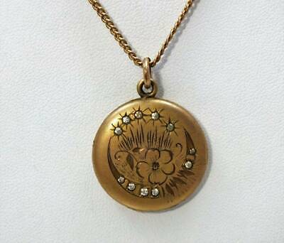 Antique Victorian S.b. Co Gf Jeweled Moon & Star Flower Etched Locket B&B Chain