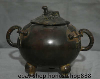 "10"" Marked Old Chinese Bronze Animal lizard leaf Handle incense burner Censer"