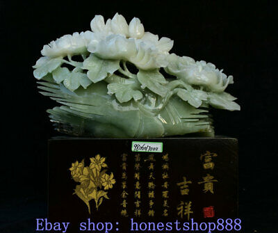 18 inch China Natural Xiu Jade Master Carving Ornamental Peony Flower Statue
