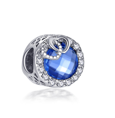 DIY 925 Silver Blue Crystal Heart Charm European Beads Fit Necklace Bracelet