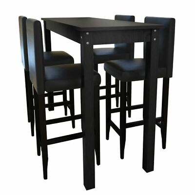 5 Pieces Dining Table Set 4 Chairs PU Faux Leather Bar Stools Black Kitchen Wood