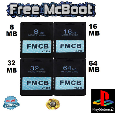 FMCB Free McBoot Card v1.953 Memory Card For PS2 Sony Playstation2 8MB - 64MB