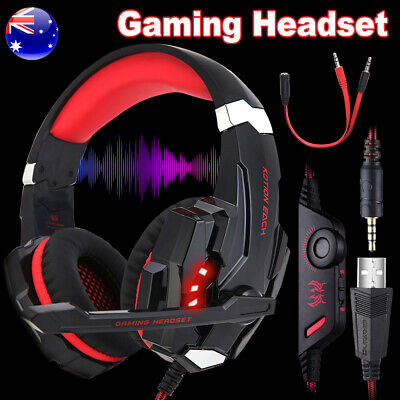 3.5mm LED Gaming Headset MIC Stereo Headphones for PC PS4 Xbox One 360 Red