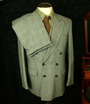 New Prince of Wales Check VTG DB Double Breasted 1940's 40's Suit 40 32w 31L